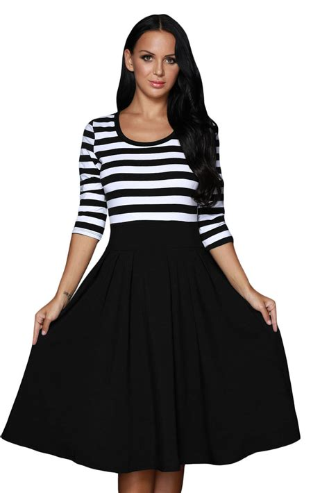 casual swing dress hot black white stripes scoop neck sleeved casual swing dress