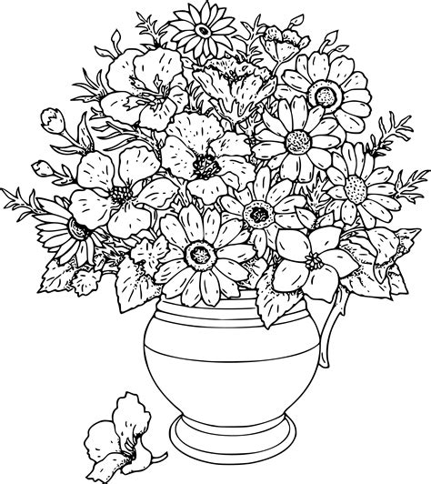 Drawing Of Flowers In Vase by Flowers Line Drawing Images Clipart Best