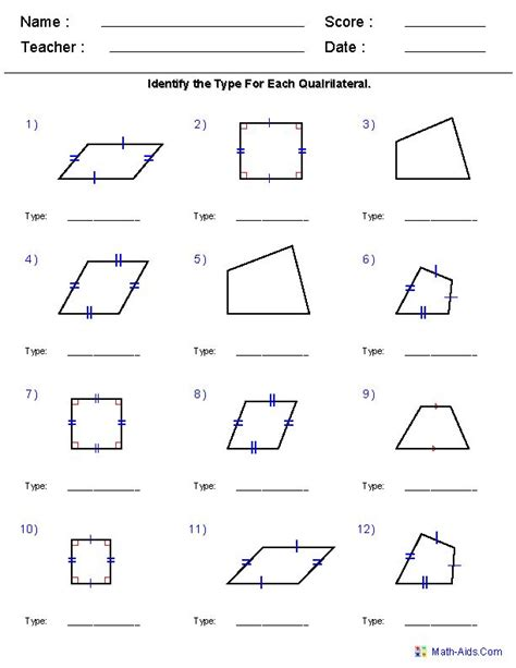 geometry worksheet naming angles a teacher ideas geometry worksheets quadrilaterals and polygons