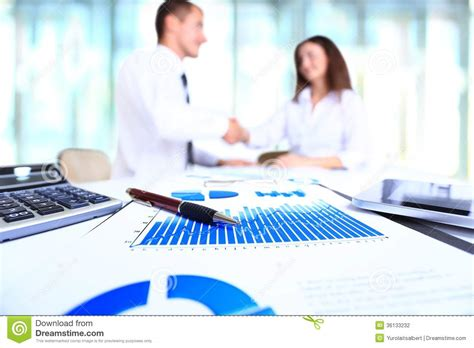 Business Table by Graphs Charts Business Table Stock Photography Image