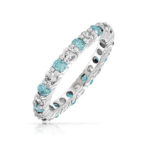 925 silver aquamarine color cz march birthstone eternity