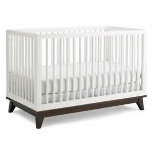 White Crib Modern Snow White Convertible Island Crib With Espresso Base