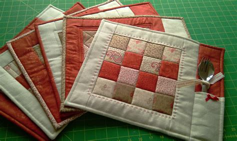 Sewing Pattern For Quilted Placemats | pdf pattern for 6 quilted placemats beginner placemat