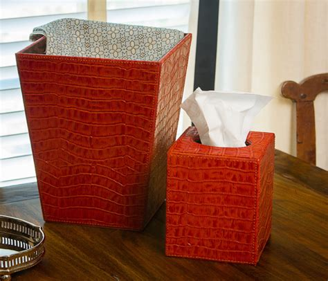 burnt orange croc tissue box home decor