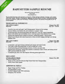 Resume Sample Babysitting Application by Babysitter Resume Example Amp Writing Guide Resume Genius