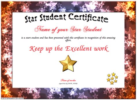 free templates for awards for students star student certificate