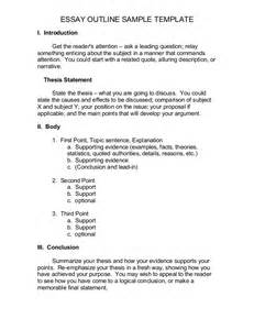 Narrative Speech Outline Template by Essay Outline Sle Template1