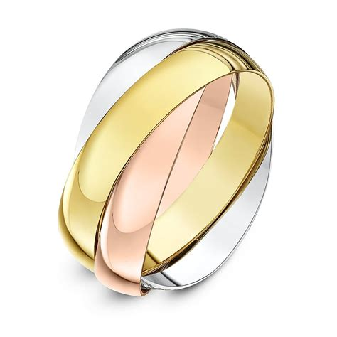 9kt three colour gold 4mm russian wedding ring
