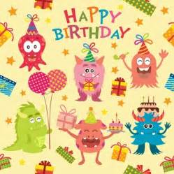 Happy Birthday Happy Birthday Background With Children Vector Free