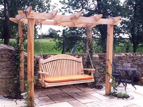 outdoor patio pergola swing quality wooden swing seat and pergola yard pinterest