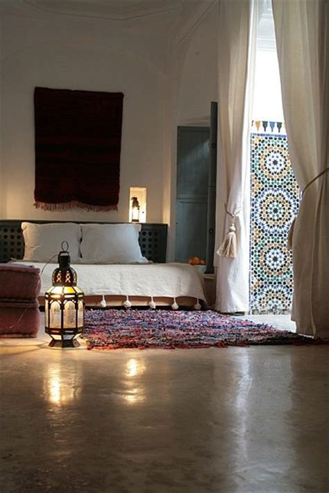 Zellij Moroccan Interiors by Relaxed Moroccan Bedroom With A Tribal Rug And Some