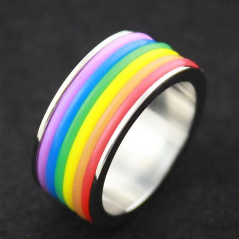 Bandul Titanium Hati You Neally 2016titanium steel rainbow rings pride jewelry for