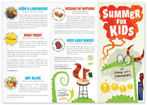 layout features of a leaflet a brochure created for cork city libraries summer for