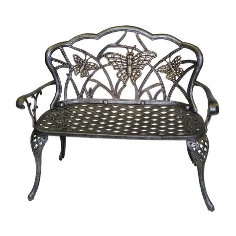 outdoor benches home depot oakland living butterfly loveseat patio bench in antique pewter 3603 ap the home depot