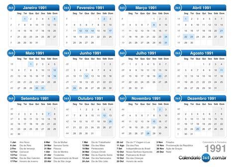Calendario De 1991 Calend 225 1991
