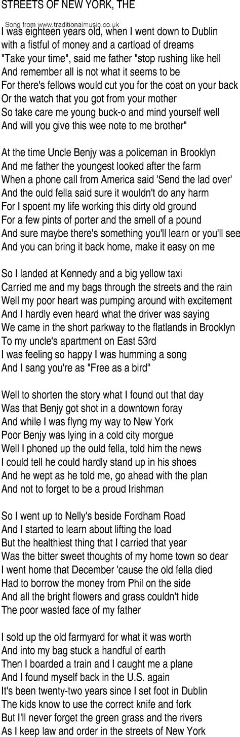 irish music song and ballad lyrics for streets of new york