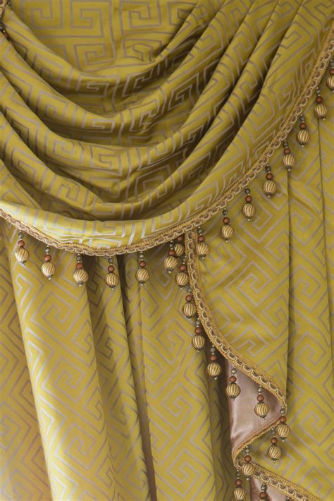 greek drapery half overlapping style swag valances curtain drapes yellow