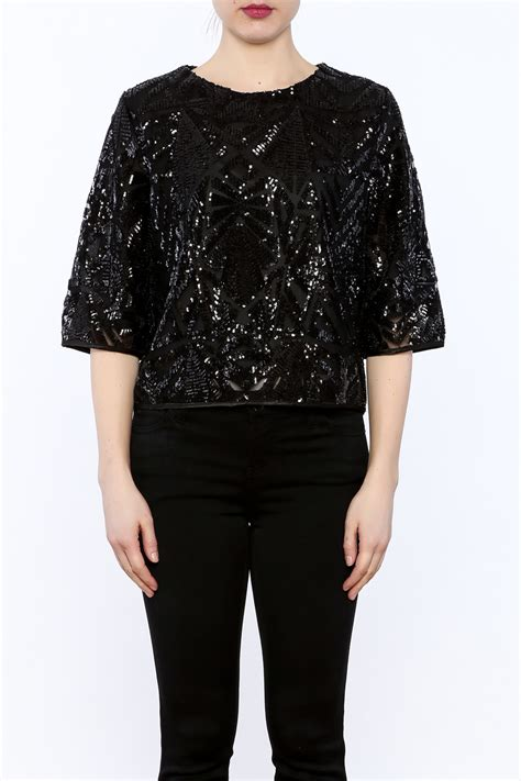 Blouse Squin Top everly black sequin top from florida by momni shoptiques