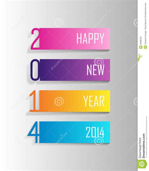 new year label vector happy new year 2014 colorful label illustration stock