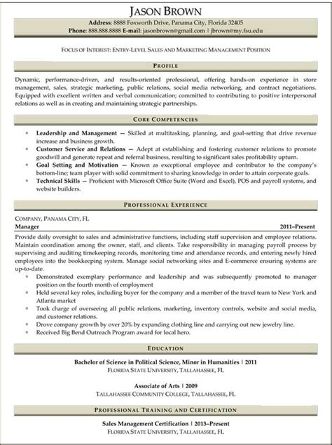 entry level marketing resume sles resume sles for sales and marketing sell yourself
