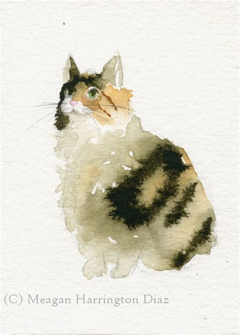calico cat painting cat painting original aceo calico 2 5 x 3 5 trading