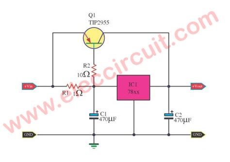 transistor voltage regulator circuit boosting regulator current for ic 78xx by mj2955 electronic projects circuits