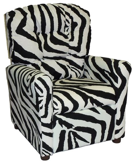 kids zebra recliner kids recliner with button tufted back zebra 400 zebra