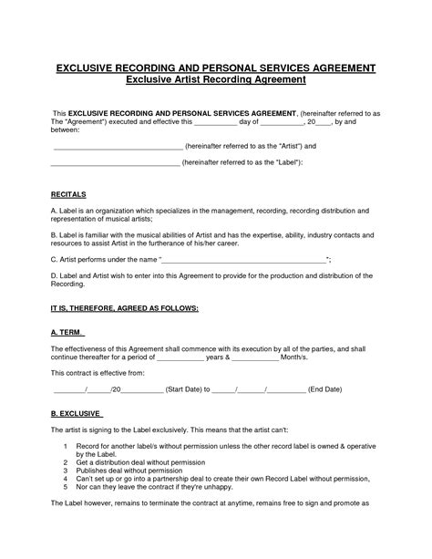 record label contract template 13 best images of personal services agreement service
