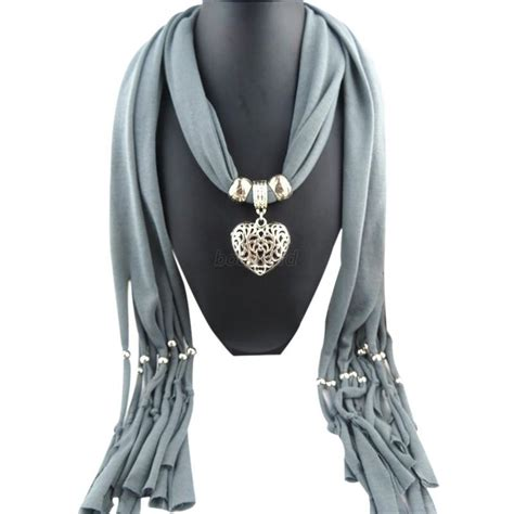 hollow pendant scarf tassel necklace