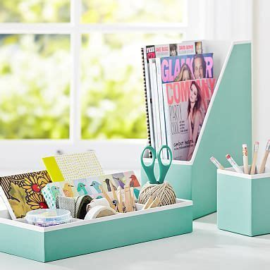 Mint Green Aqua Blue Printed Desk Accessories Solid