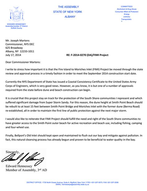 Release Project Letter Hennessey Releases Open Letter To Dec Commissioner On Island To Moriches Inlet Project