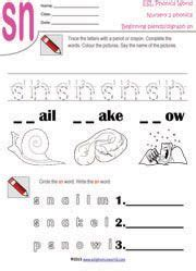 sn words worksheets sn beginning consonant blend worksheet speech