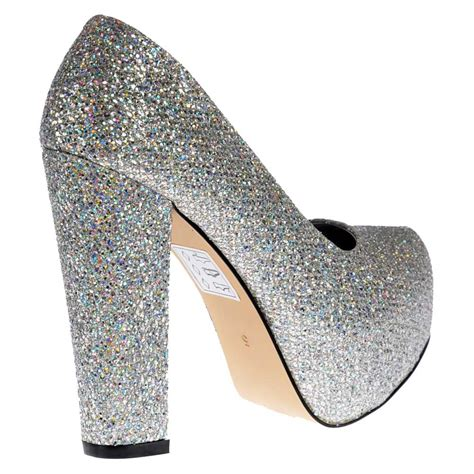 shoekandi sparkly block heel concealed platform shoes