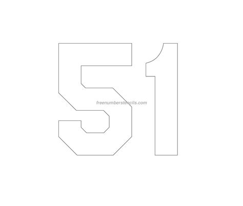 printable jersey numbers free jersey printable 51 number stencil