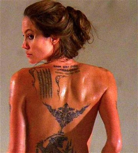 angelina jolie indian tattoo the world is not enough beautiful body art of hollywood