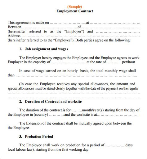 work agreement template contract agreement 7 free pdf doc