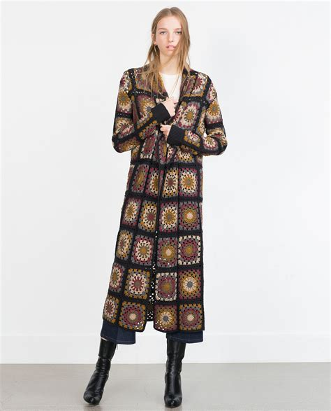 Patchwork Coats - zara patchwork crochet coat in brown lyst