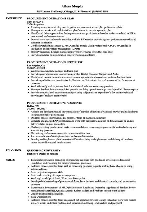 procurement resume exles procurement financial analyst description exle