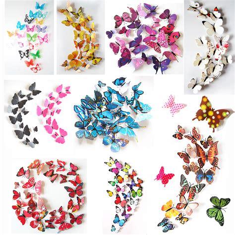 Blumen Sticker Zum Aufnähen by 3d Schmetterlinge Blumen 12er Set Dekoration Wandtattoo