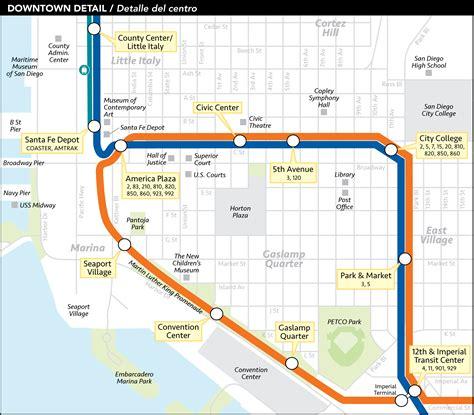 san diego trolley map san diego downtown metro system map trolley mapsof net