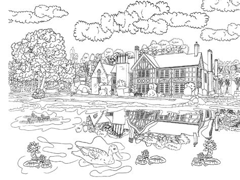 adult detailed coloring pages scenery coloring pages