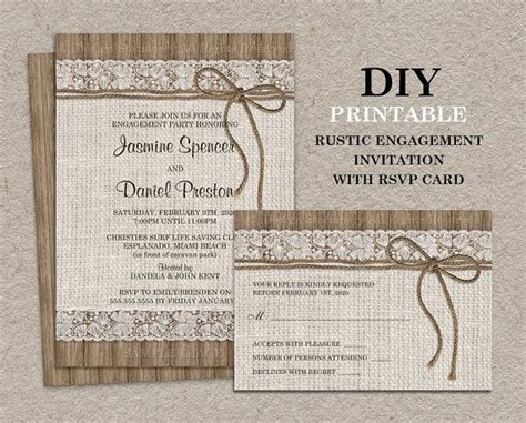 free rustic chic templates for rsvp cards rustic engagement invitation with rsvp card diy