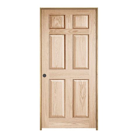 Prehung Oak Interior Door Jeld Wen 28 In X 80 In Woodgrain 6 Panel Prefinished Oak Single Prehung Interior Door 828469