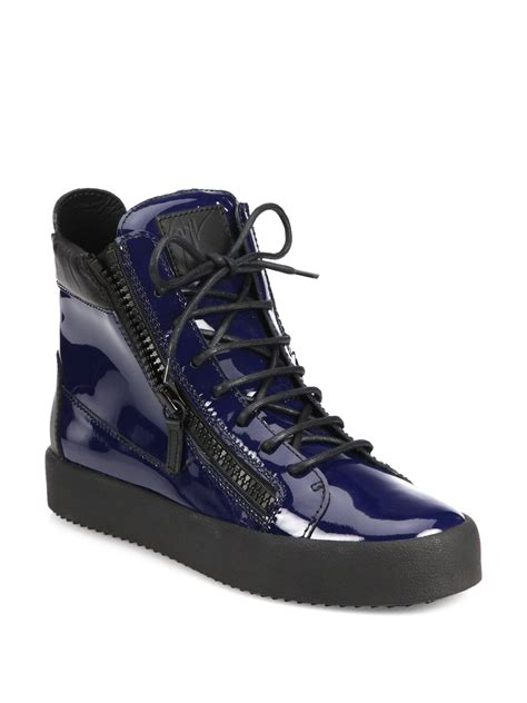giuseppe sneakers for giuseppe zanotti patent zip high top sneakers in