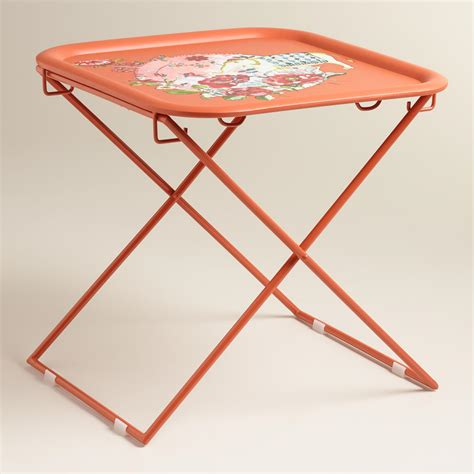 orange accent tables orange square metal accent table world market