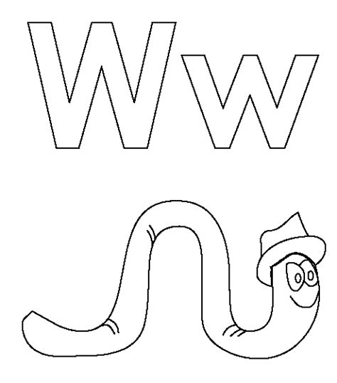 mobile letter w coloring book coloring pages