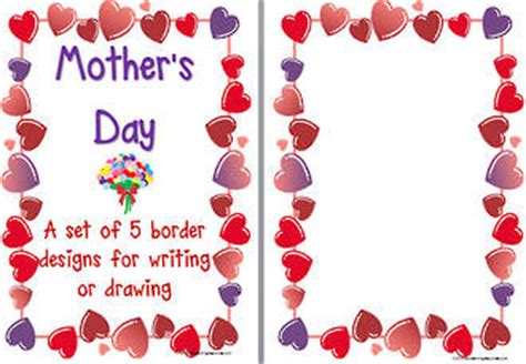 mothers day card template word s day and flower borders template blank page
