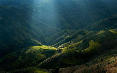 mountain vietnam sunlight landscape sun rays terraces