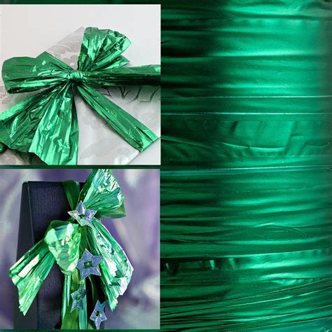 Emerald Green Metallic Foil Ribbon, Christmas Ribbons