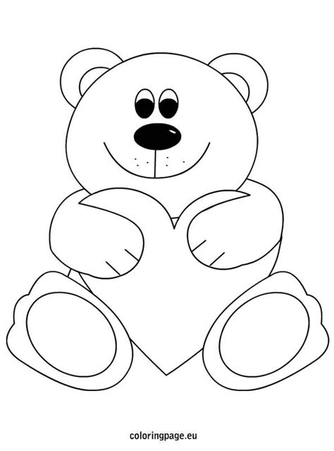 teddy bear heart coloring page mothers day pinterest